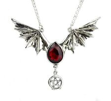 Blood Red Swarovski Stone Bat Wing Necklace Vampire Tear Drop Gothic Alterantive