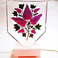 Vintage Clear Lucite Lamp Tabletop Night Light Boudoir Hand Carved Deep Purple
