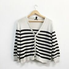 H&M Black Cream / Ecru Stripe Cotton Cardigan Size L 12 14