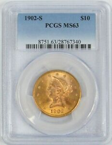 1902 S GOLD US $10 LIBERTY HEAD EAGLE COIN PCGS MINT STATE 63