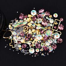 Nail Art 3d Rhinestone Mix Glitter Gems DIY Tips Stickers Decoration Jewelry Purple Pink