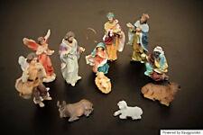 Krippenfiguren 11 cm Weihnachtskrippe Figurenset 11tlg. Weihnachten Krippenstall