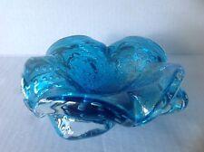 Murano Glass Blue Bullicante Bowl with scalloped edge and Aventurine