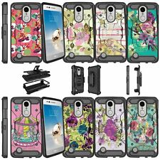 For LG Risio 2 | LG Rebel 2 (2017) Shockproof Dual Layer + Stand Case - Flowers