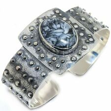 Pinolith Gemstone Handmade Vintage 925 Sterling Silver Cuff Bracelet Adjustable