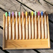 10PCS Biodegradable Bamboo Toothbrush With Natural Wooden Handle Medium Bristles