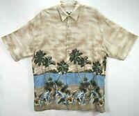Pierre Cardin Mens XL Hawaiian Shirt Beige Tropical Short Sleeve Button Front EC