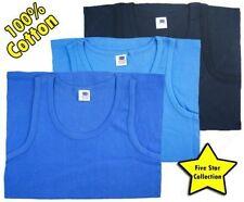 Blue 3 Mens Vests 100/% Cotton Interlock Singlets Underwear 3XL 4XL 5XL