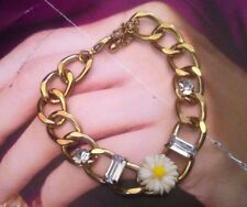 (RR50) gorgeous daisy flower gold plated bracelet ,  adjustable  crystal stones