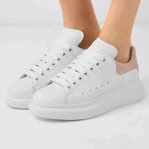 Alexander McQueen White Oversized Patchouli Velour Calfskin Shoes Sneakers 38