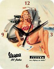 Vespa Pirelli Pinup Pin Up - Blechuhr Wanduhr Uhr Clock 59