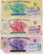 3 BILLETS LOTERIE NATIONALE  FEDERATION NATIONALE DES MUTILES 1970