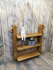 RECLAIMED HANGING LADDER SHELF WITH ROPE 12 TONES HANDMADE RUSTIC CHUNKY WOOD
