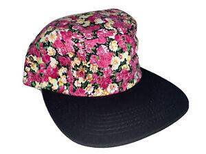 NEW BLACK PINK FLOWER PRINT 5 PANEL STRAP BACK CAP ADJUSTABLE FLORAL SKATE 5