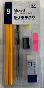 9 Pc Mixed Stationery Set Pen HB Pencils Eraser Sharpener School Office