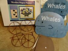 """New Save The Whales Wooden Wagon Planter - 22""""x10""""x14"""" ;"""
