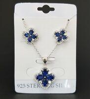 925 Sterling Silver Blue Sapphire White Topaz Flower Pendant Stud Earrings Set