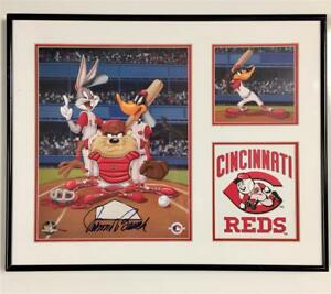 JOHNNY BENCH signed 16x20 LOONEY TUNES Reds Lithograph /1000 ~ COA + Photo Proof