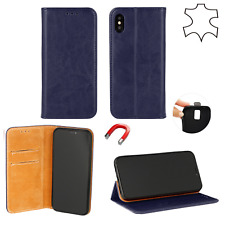 Etui Echt Leder Book Style Case Wallet Handy Tasche Hülle Blau Huawei Y6 2019