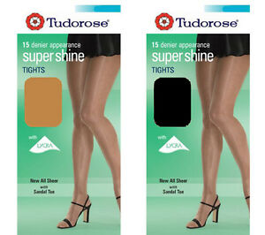 2 x Tudorose Super Shine Tights With Sandal Toe 15 Denier Panty Hose Black Nude