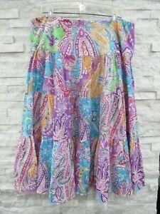 Ralph Lauren LRL Colorful Paisley Art-to-Wear Linen Boho Midi Broom Skirt 2X