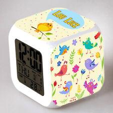 Reveil cube led lumière nuit alarm clock oiseau enfant personnalisé prénom réf28