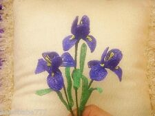 ** French Beaded Flowers ** 3 Handmade Iridescent Dark Blue/Purple Iris's **