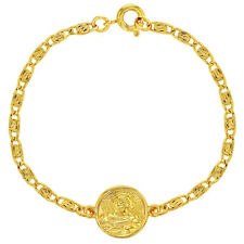 18k Gold Plated Guardian Angel Medal Protection Children's Bracelet 5.5""
