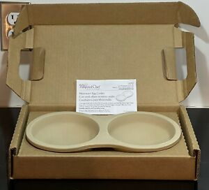 New Open Box Pampered Chef Stoneware Microwave Egg Cooker 1372 USA Eggs Stone