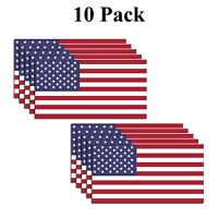 10 Pack Small American Flag Vinyl Decal Bumper Sticker Car Truck Window Yeti USA