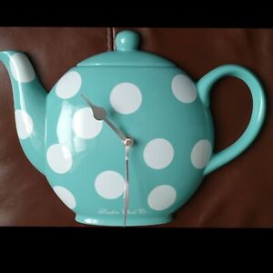 Large Shabby Chic Polka Dot Teapot Wall Clock London Clock Co Tea Coffee Cafe