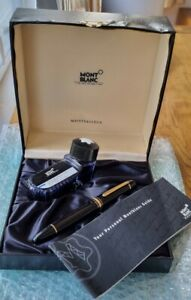 Boxed Montblanc Meisterstuck 149 18K M FP with service guide and ink bottle