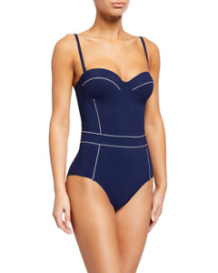 TORY BURCH NEW $228 Lipsi Contrast Trim One Piece Swimsuit Tory Navy Small