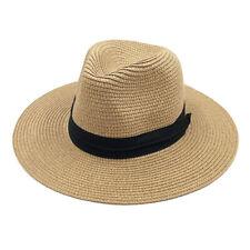 Men Women Wide Brim Straw Hat Panama Roll up Hat Fedora Brim Beach Jazz Sun Cap