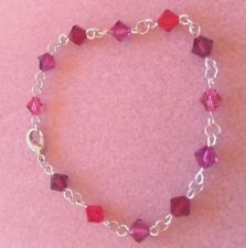 Silver Plated Crystal Element Chain Bracelet with Red/Purple/Pink Spacers (d)