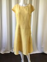 Sharagano Womens Dress Yellow Fit Flare Textured Cap Sleeve Size 6