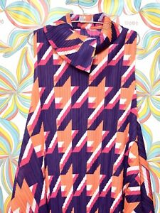 Pleated Colorful Issey Miyake Pleats Please Inspired Houndstooth Purple Dress