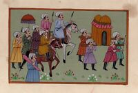 Mughal Procession Painting With Paper Mount Finest Miniature Work With Paper