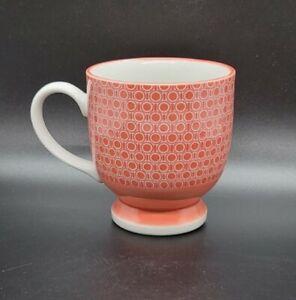 "Mug WEST ELM 10oz 3"" Footed Coral Japan Cup Porcelain Coffee Tea"