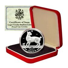 Isle of Man Japanese Bobtail Cat 1 Crown 1994 1 Oz Proof .999 Silver Box & Coa