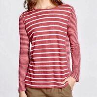 Vince Womens Mixed Linen Long Sleeve T-Shirt Size Medium M Red Stripe Top Knit