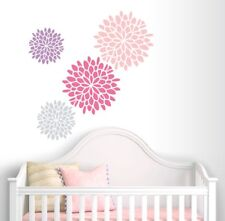 Flower Wall Decals - Set of 4 Decals - Dahlia Flower Vinyl - Home Decor