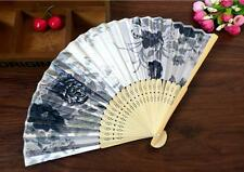 Chinese Art Craft Flower Silk Folding Bamboo Fan In His Hand