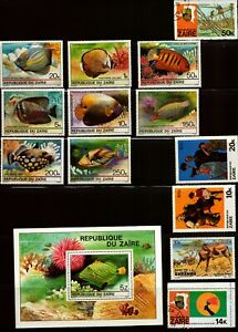 ZAIRE - Nice Lot of 13 Stamps & 1 Souvenir Sheet - Check out the scans