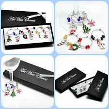 1 Boxed - 6 Wine Glass Charm Christmas Wine Glass Decoration Xmas Gift Set