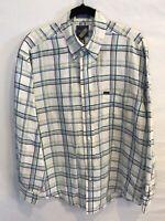 Faconnable Mens Large L 55% Linen Long Sleeve Button Down White Plaid Shirt