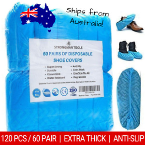 120pcs/60 Pairs Disposable Shoe Covers - Extra Thick, Anti-Slip, Water Resistant
