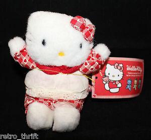 "VTG Sanrio Japan Hello Kitty Plush 11cm 4.25"" Tall Apron Heart Red Original Tag"