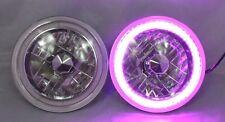 """97-16 Jeep Wrangler TJ JK 7"""" PURPLE LED SMD Halo Round Chrome Clear Headlights"""