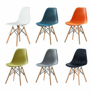 Retro Eiffel Dining Chair Office Kitchen Lounge Chair Plastic Seat Wooden Legs